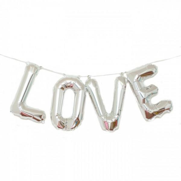 Buchstaben Folienballon Set silber LOVE 41cm