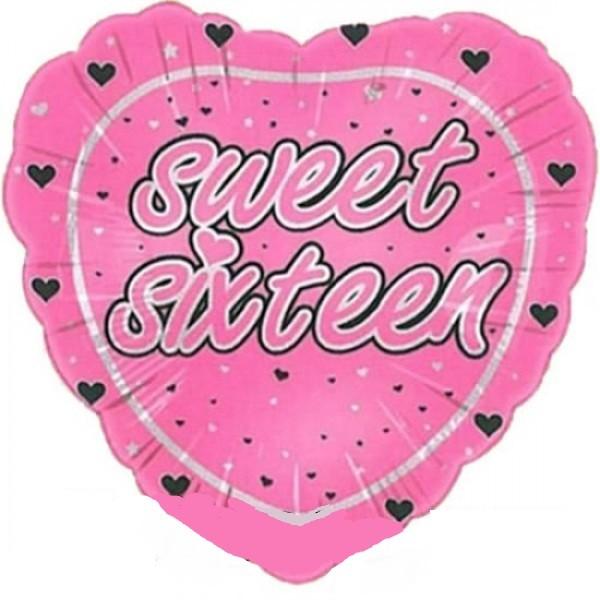 Sweet Sixteen Herz Folienballon - 45cm