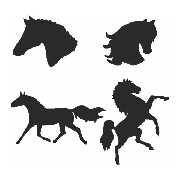Selbstklebe Schablonen Set Pferde Eulenspiegel