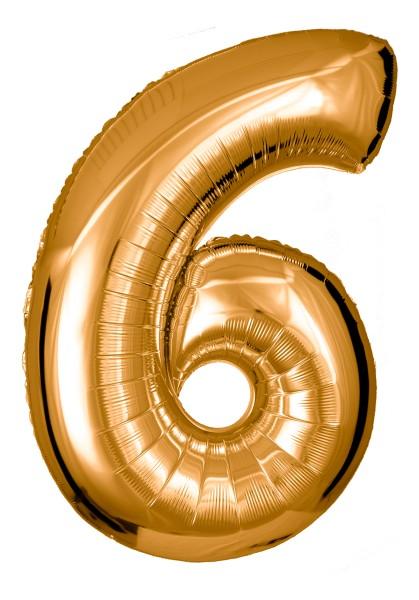 Große Folienballon Zahl 6 (gold)