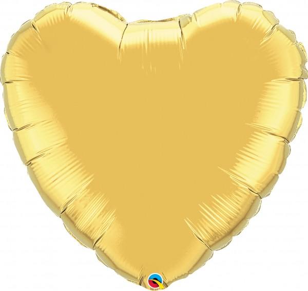 Folienballon Herz Metallic Gold (Gold) - 90cm