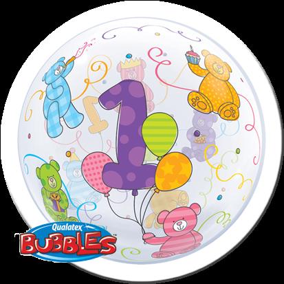 Qualatex Bubble Luftballons Age 1 Teddy Bären
