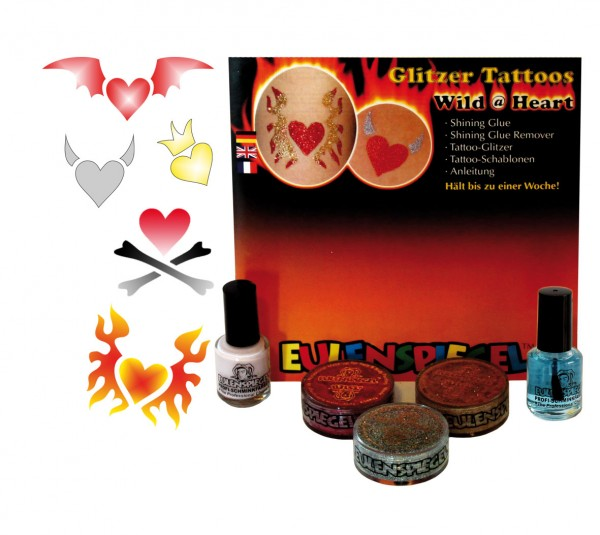 Tattoo Glitzer Set Wild @ Heart (XL) Eulenspiegel