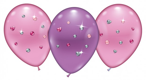4 Ballons Pink Jewels Latex Luftballon ca. 23cm