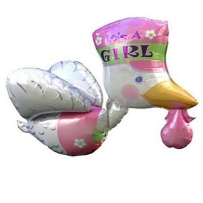 fliegender Klapperstorch rosa Folienballon - 81cm