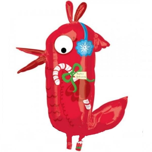 roter Weihnachts Vogel Folienballon - 101cm