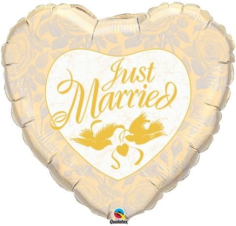 Just married Herz mit Tauben gold - in 91cm