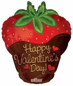 Happy Valentins Day Erdbeere Folienballon - 53cm