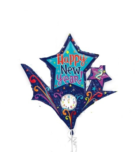 Silvester Folienballon Happy New Year Party Countdown Sterne