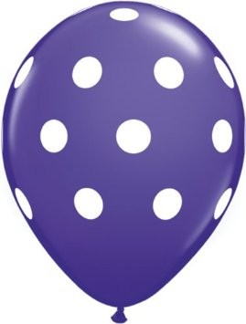 Big Polka Dots Purple Violet Latex Ballons - 27,5cm