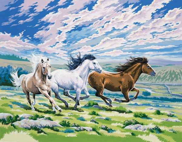 Reeves Malen nach Zahlen Galoppierende Pferde
