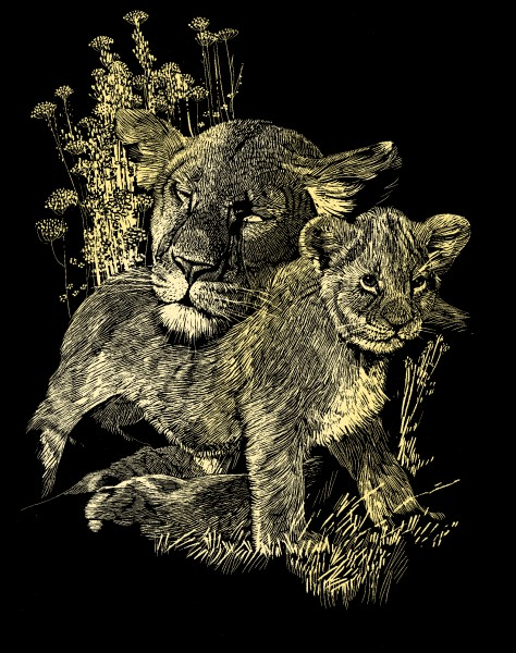 Reeves Gravurfolien Gold Löwin & Junge