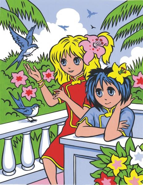 Reeves Malen nach Zahlen Manga Blumenmädchen