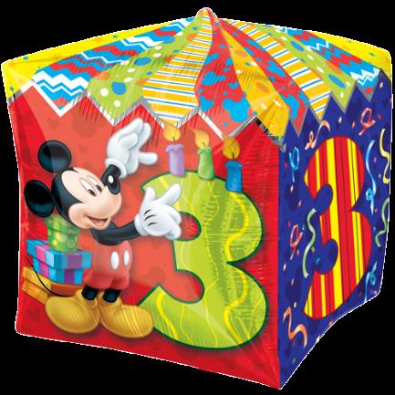 Mickey Maus 3. Geburtstag Cubez Würfel- Folienballon