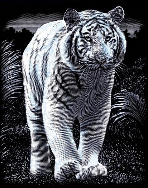 Reeves Gravurfolien Silber Weißer Tiger