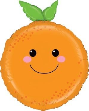 Orange mit Gesicht Folienballon