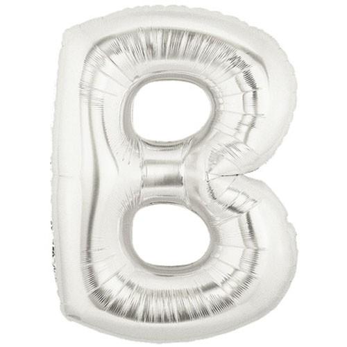 Buchstaben B silber Folienballon - 101cm