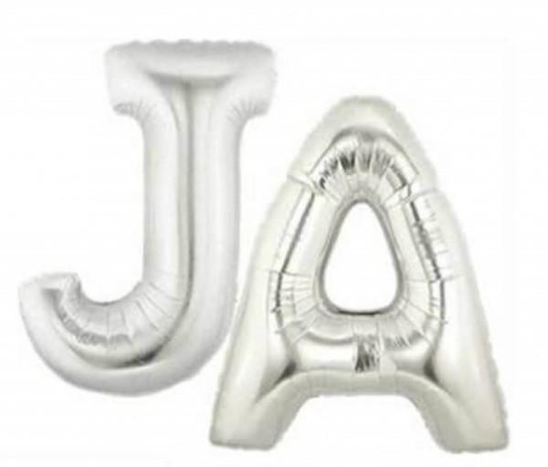 Buchstaben *JA* silber Folienballon - 101cm