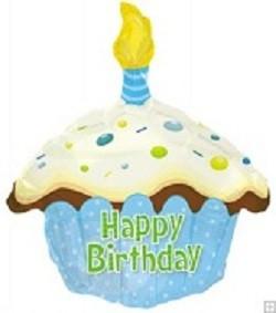 Blue Cupcake/ hellblauer Kuchen Folienballon Happy Birthday