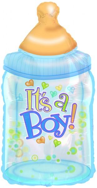 Babyflasche blau Folienballon - 84cm
