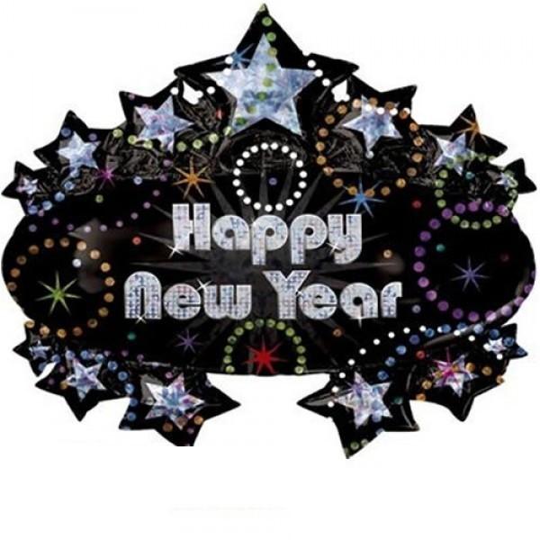 Happy New Year Black Star Folienballon - 83cm